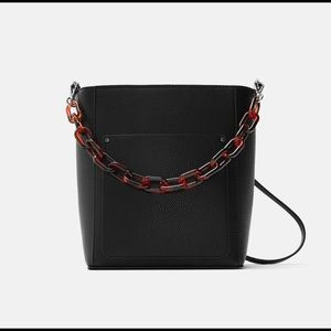 Zara Black Bucket Bag with Tortoise Shell Chain